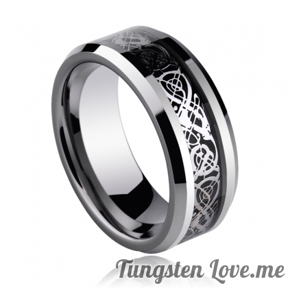 ✥ Унисекс пръстен Tungsten Celtic Dragon Silver - 10,5 и 12